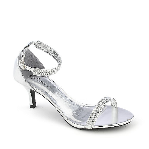 silver dress shoes sweet seventeen janee-01 silver evening low heel dress shoe anyttyk
