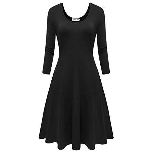 simple dresses malist women flared midi dress 3/4 sleeves dress round neck simple casual xikegpm