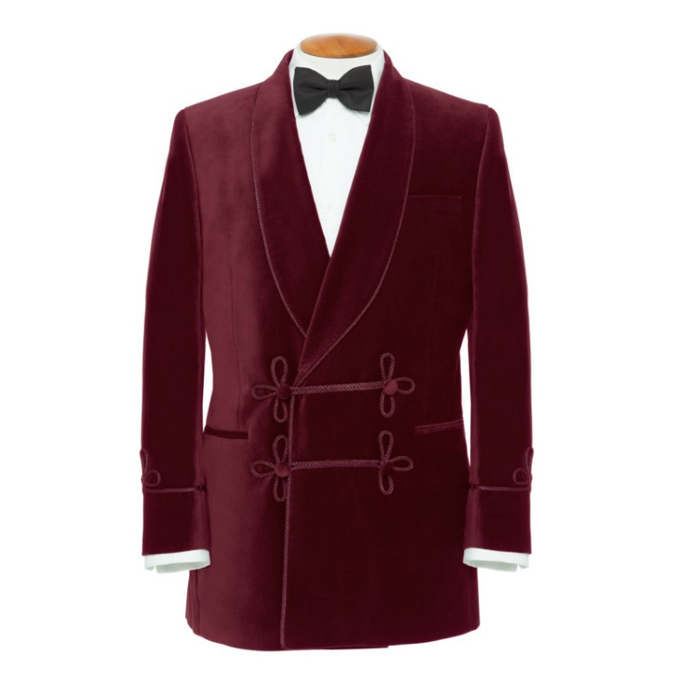 smoking jacket double-breasted smoking jackets, with frogging, burgundy lumlcug