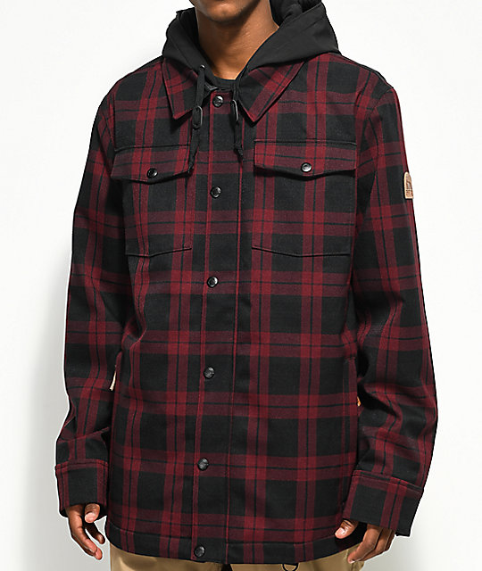 snowboarding jacket empyre traversed black u0026 red plaid