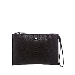 star by julien macdonald - black reptile textured clutch bag jemhpbx