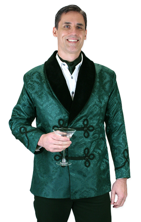 steampunk mens green floral shawl collar smoking jacket | gothic | pirate | pdxhmhn