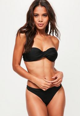 strapless bikini black twist bandeau bikini top - mix u0026 match zixnfxw