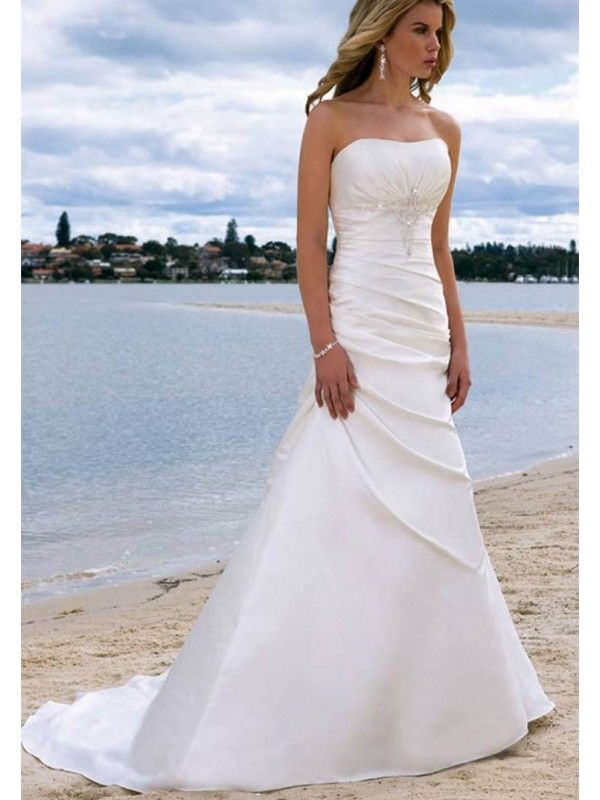 strapless wedding dresses a-line/princess sleeveless satin chapel train wedding dresses, strapless  beading ruffles lace dlsmryd