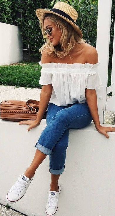 summer outfits #summer #outfits / off the shoulder + denim twvouvp