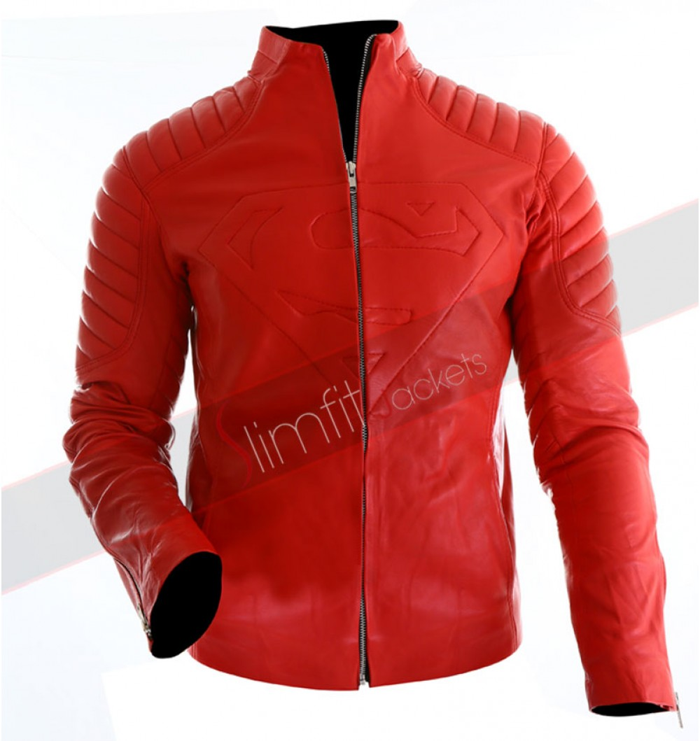 superman replica smallville red leather jacket fbgoqur