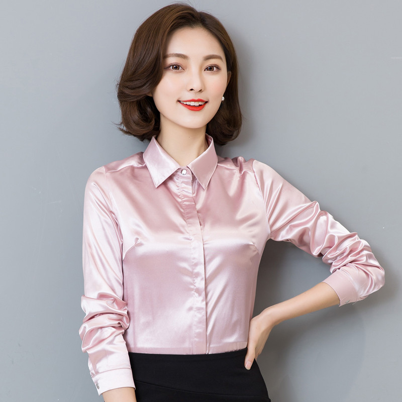 symorhouse women silk satin blouse button long sleeve lapel ladies office  work sciexgy