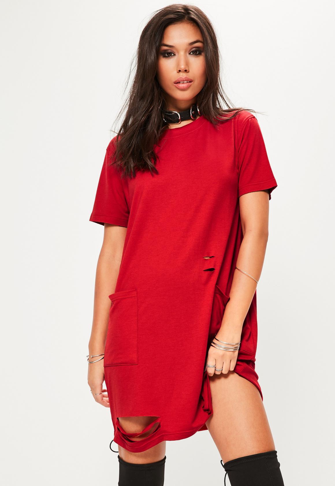 t shirt dress red distressed pocket t-shirt dress zgqqvjd