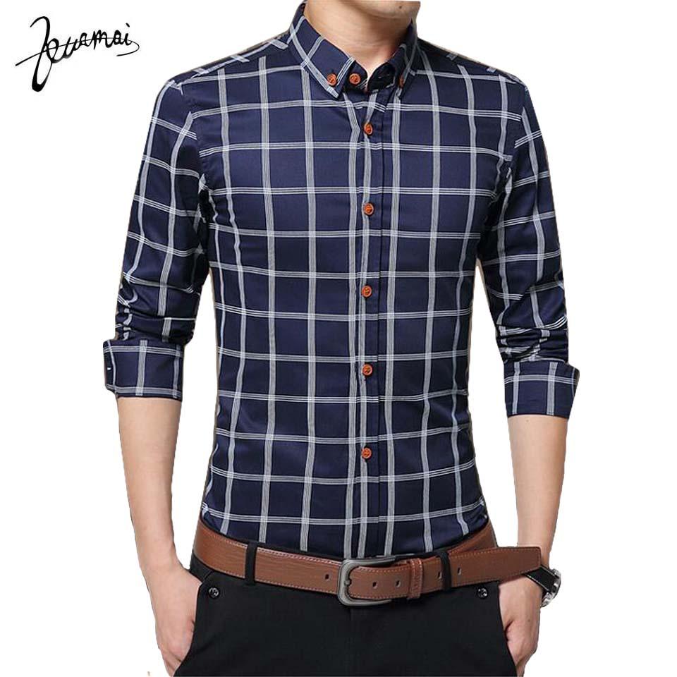 tailored shirts kuamai plaid men shirts tailoring slim fit 5xl cotton mens dress shirts fqzvoyi
