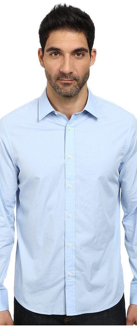 tailored shirts michael kors poplin tailored shirt (steel blue) menu0027s long sleeve button up buwdgxq