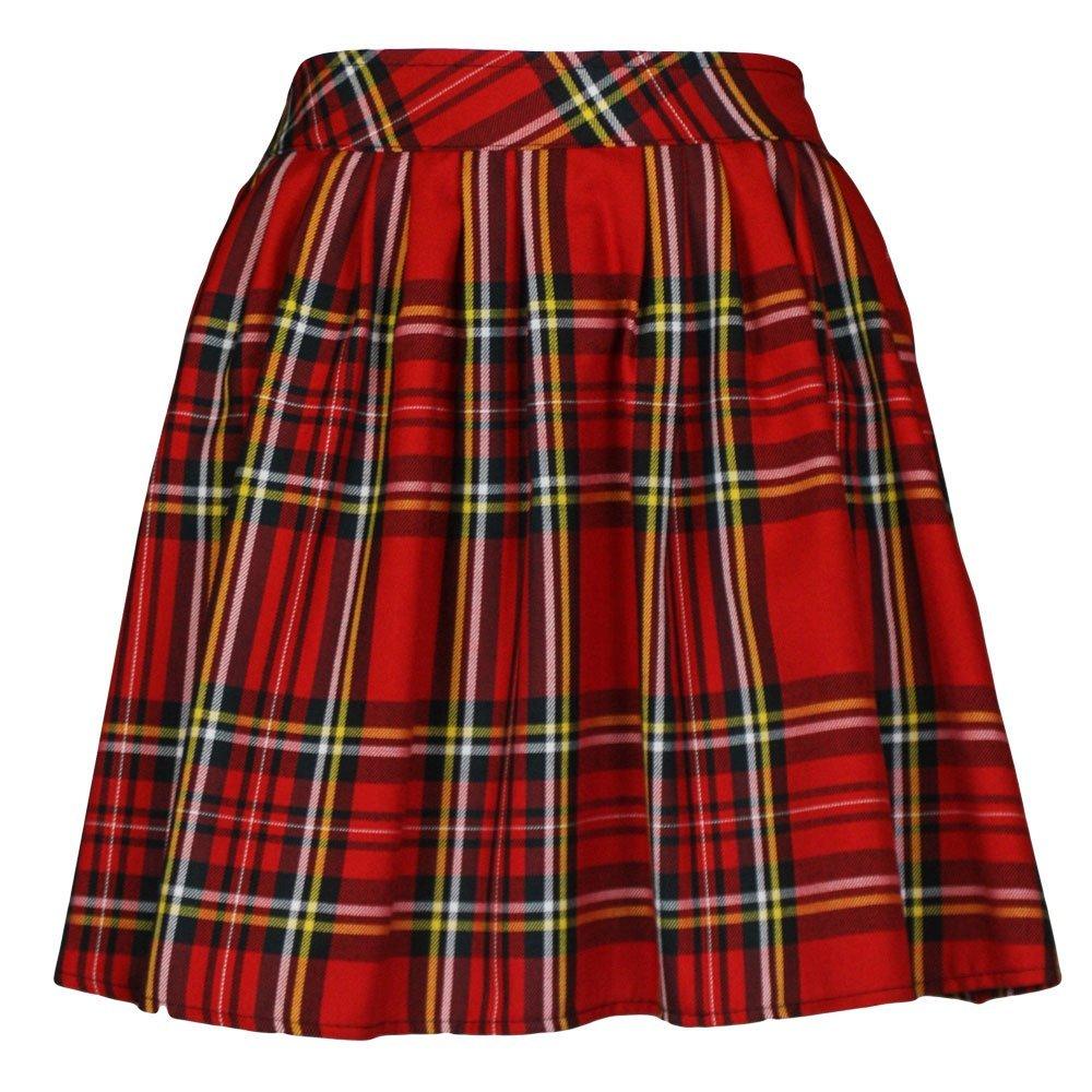 tartan skirt ladies/womens elasticated waist tartan skater skirt: amazon.co.uk: clothing jbfemux