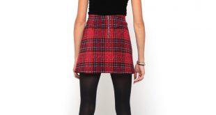 tartan skirt ... motel able a line corduroy mini skirt in tartan red ... teboaiz