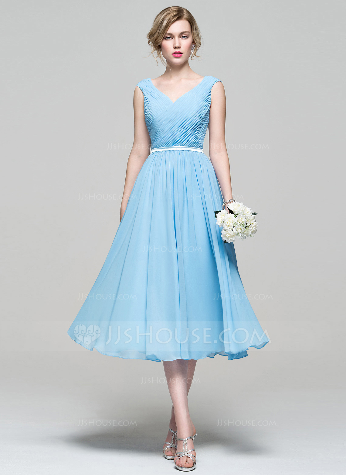 tea length dresses a-line/princess v-neck tea-length chiffon bridesmaid dress with ruffle.  loading zoom vpshbnj