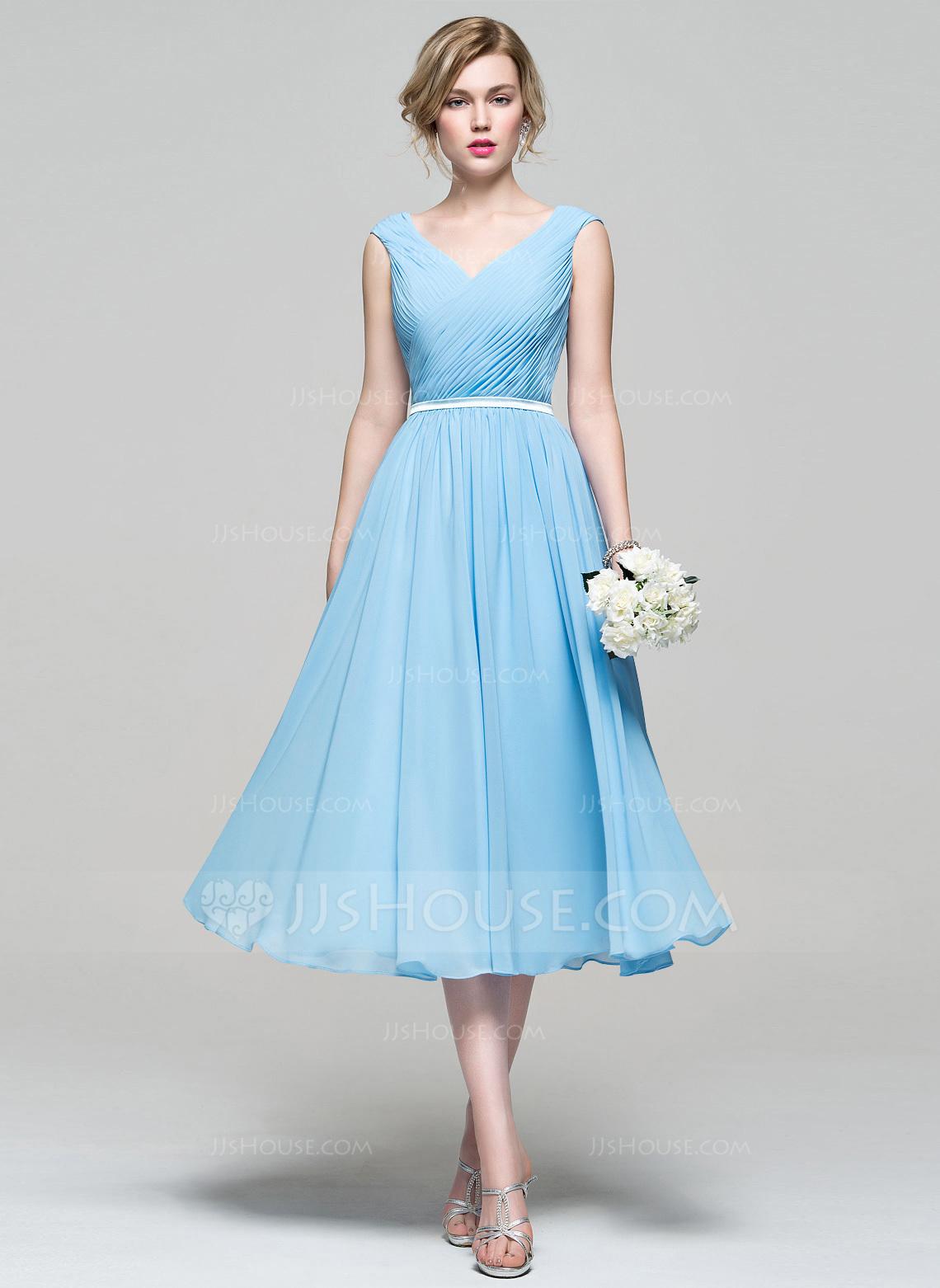 tea length dresses a-line/princess v-neck tea-length chiffon bridesmaid