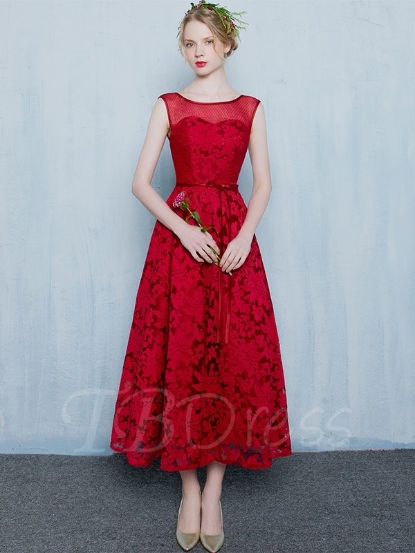 tea length dresses a-line scoop bowknot lace sashes tea-length evening dress ... bqnoumr