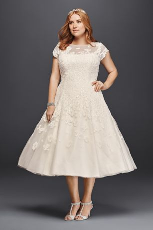 tea length dresses short ballgown formal wedding dress - oleg cassini uaeompo