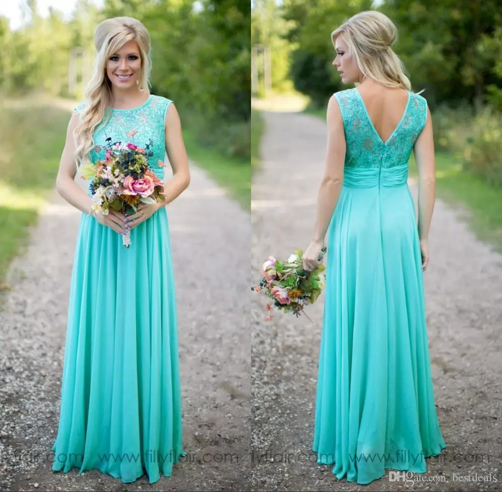 teal bridesmaid dresses 2017 country turquoise bridesmaids dresses sheer jewel neck sequins lace  top chiffon ryugauy