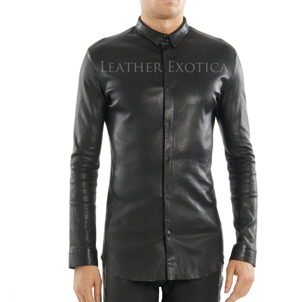 tight fitted men leather shirt asztfqn
