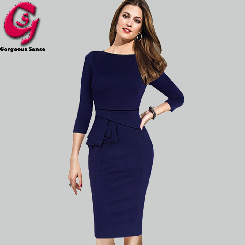 trendy dresses 2015 fashion women office dress peplum bodycon pencil party dresses casual  ladies creruvc