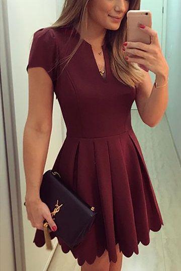 trendy dresses burgundy v-neck dress with high-waisted design from mobile - us$21.95  -yoins | avfowwk