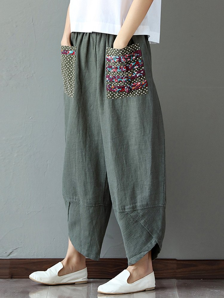 trousers for women gracila casual print patchwork elastic loose irregular pants for women qqteygo