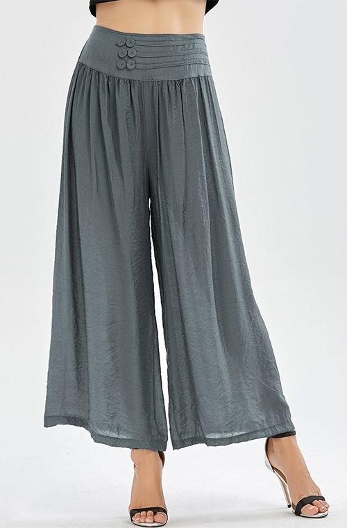 trousers for women high waisted button design wide leg pants wchfoak