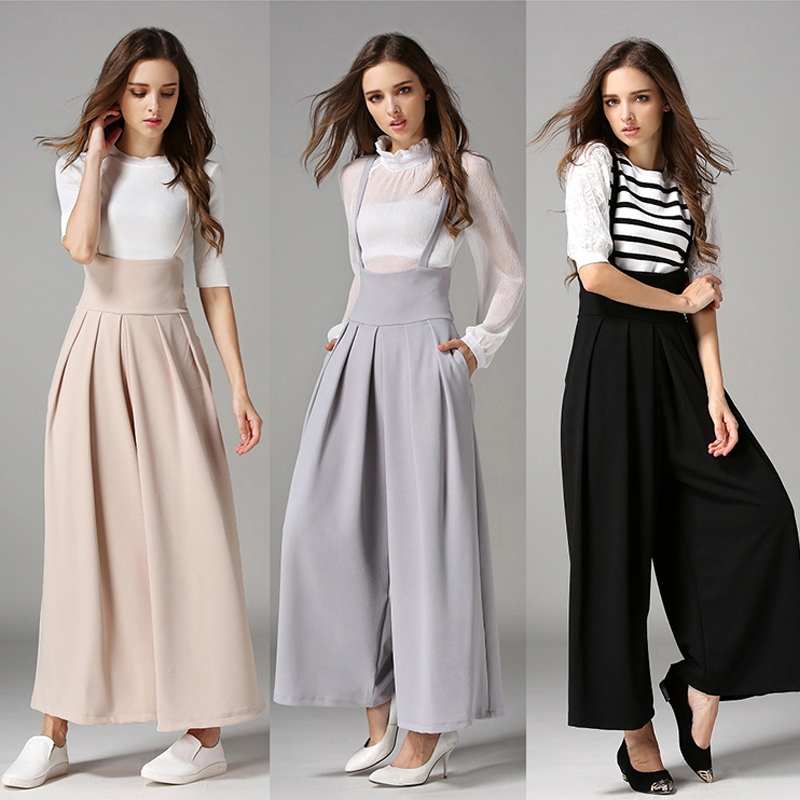 trousers for women uk women casual palazzo high waist career wide leg culottes trousers loose pftifid