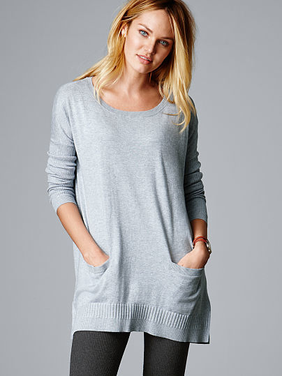 tunic sweaters ... victoriau0027s secret a kiss of cashmere two pocket tunic sweater ... fbcrsal