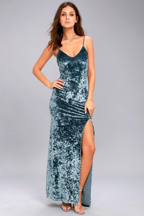velvet dress supernatural love slate blue crushed velvet maxi dress 1 qtpkgpv