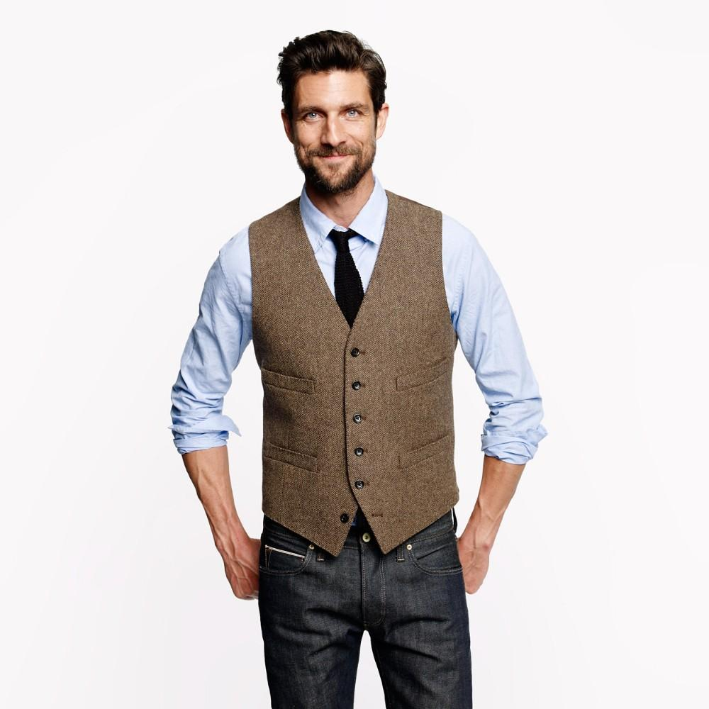 vest for men 2017 farm wedding vintage brown tweed vests custom made groom vest mens pilcdkn