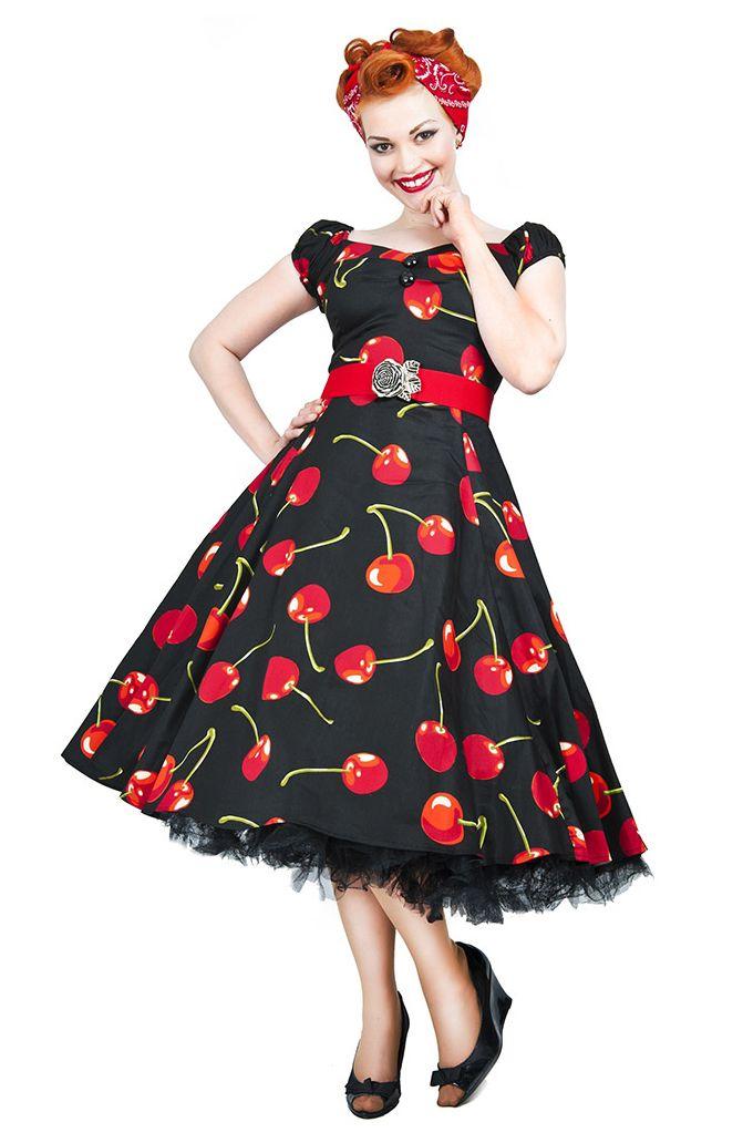 vintage style black cherry stem swing dress | vintage style dresses | vintage mlzjxil