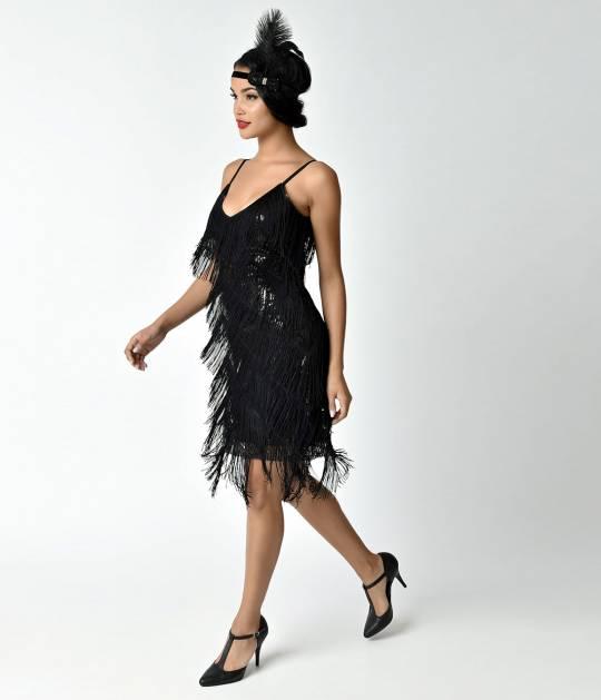 vintage style dresses unique vintage 1920s style black cecile tiered fringe flapper dress qjdfoch