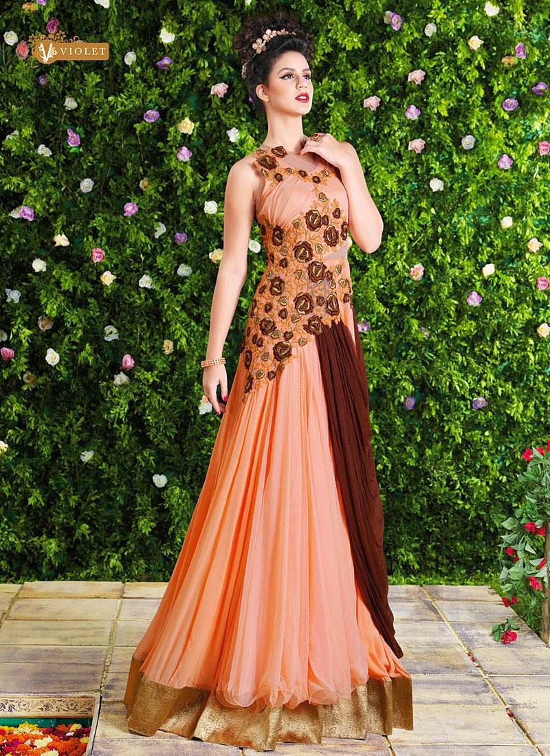 voluptous peach georgette party wear gown vtihrnz