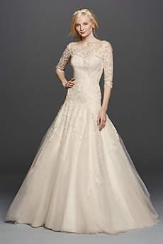 wedding dresses with sleeves long a-line vintage wedding dress - oleg cassini ztrxbfj