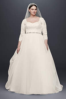 wedding dresses with sleeves long ballgown romantic wedding dress - oleg cassini xdfnvos