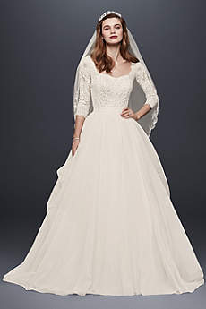 wedding dresses with sleeves long ballgown romantic wedding dress - oleg cassini zzvbljw