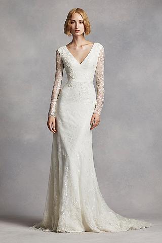 wedding dresses with sleeves long sheath modern chic wedding dress - white by vera wang nlqoukz
