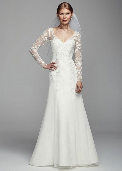 wedding dresses with sleeves this long illusion sleeve tulle gown, $349.99. hddtavd