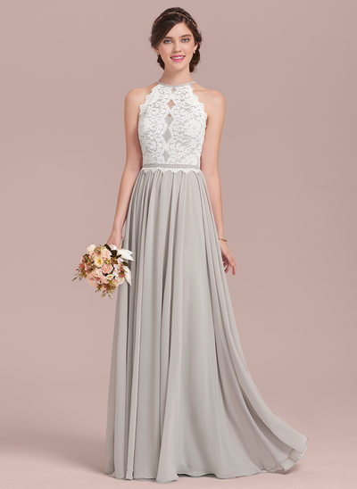 wedding party dresses a-line/princess scoop neck floor-length chiffon lace bridesmaid dress ulvxiad