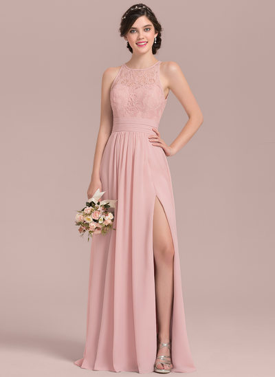 wedding party dresses a-line/princess scoop neck floor-length chiffon lace bridesmaid dress with  ruffle zjokbdg