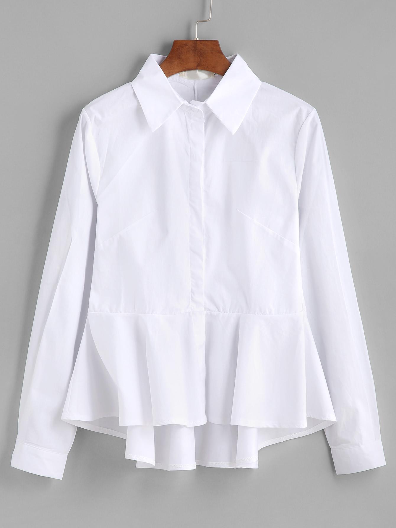 white blouse frill peplum dip hem blouse -shein(sheinside) ycuxinr