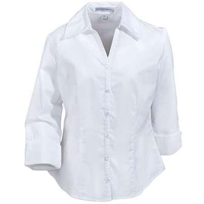 white blouse port authority ladieu0027s white 3/4 sleeve open neck blouse l6290 wht gepsmxv