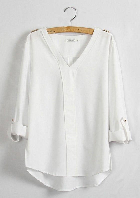white blouse white plain epaulet v-neck long sleeve chiffon blouse payvfjt