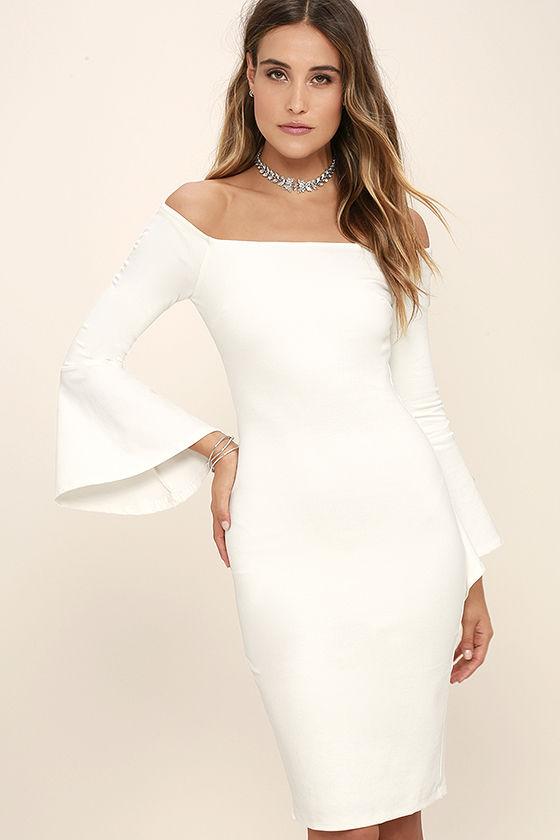 white dress all she wants white off-the-shoulder midi dress 1 egcafmt