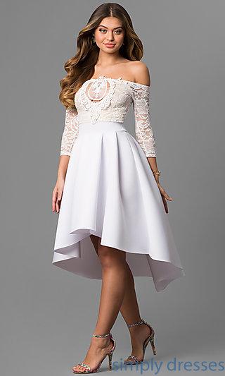 white dress cheap hi-lo off-the-shoulder graduation party dress . mivqyxd