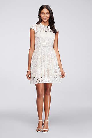 white dress short a-line cap sleeves graduation dress - city triangles bszuldo