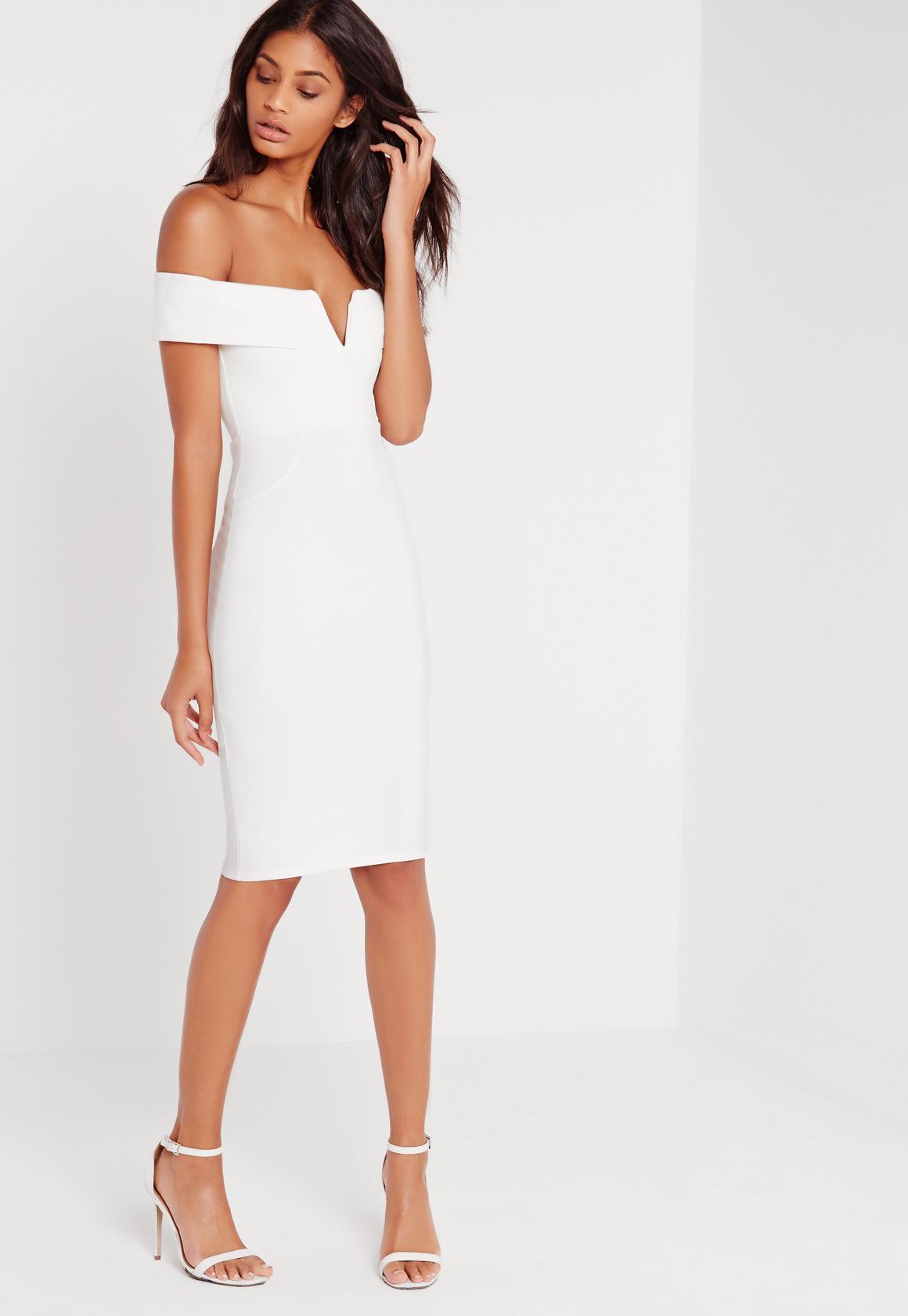white dress v front bardot midi dress white slljnzo