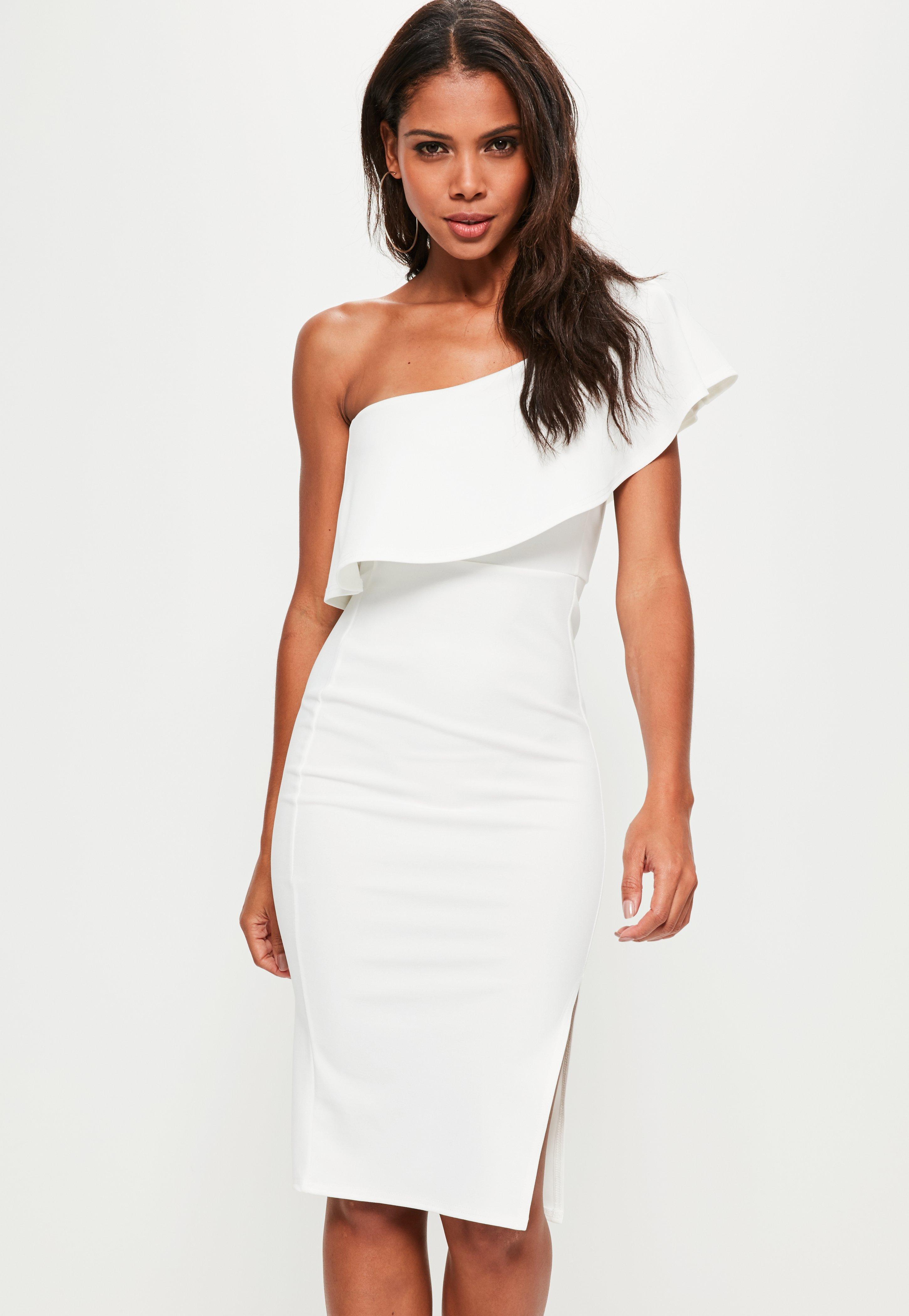 white dress white one shoulder frill split midi dress | missguided sovfgod