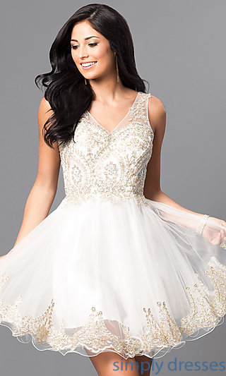 white party dresses embellished-bodice short v-neck homecoming dress . jjslyyt