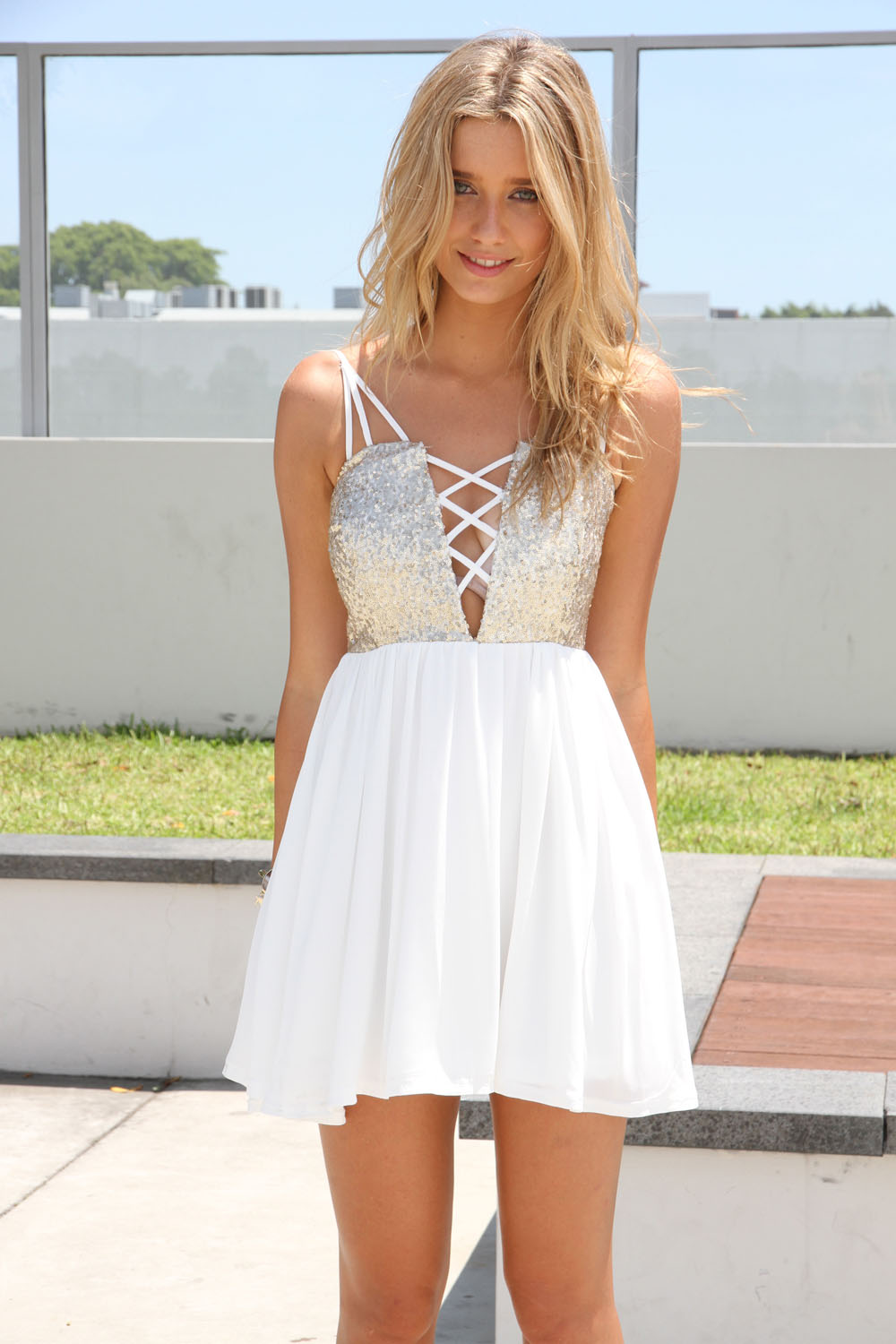 white party dresses white party dress - white sleeveless dress with sequin | ustrendy ttfypze